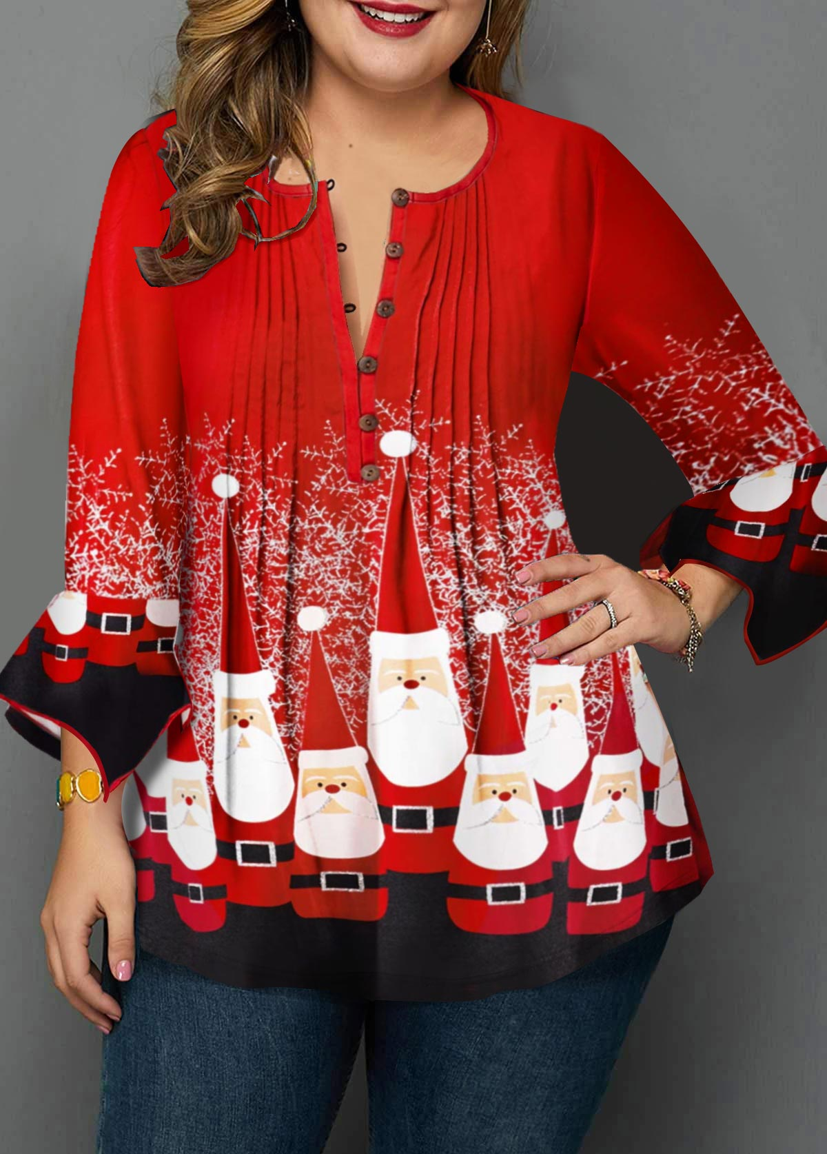 ROTITA Plus Size Crinkle Chest Christmas Print Blouse
