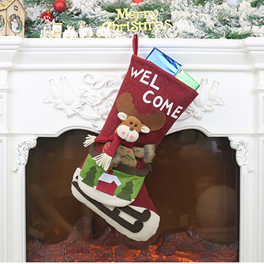 Letter Pattern Red Chrismas Socks for Decoration