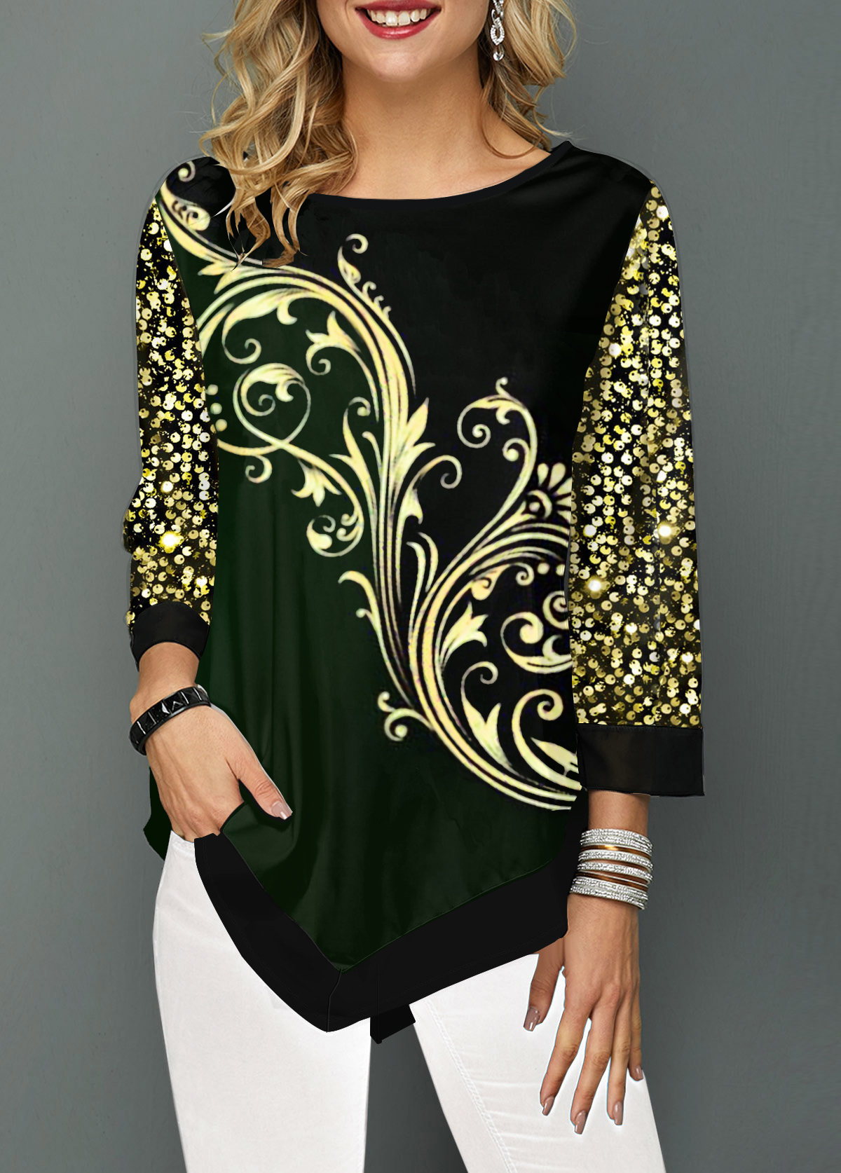 Sequin Embellished Printed Asymmetric Hem T Shirt