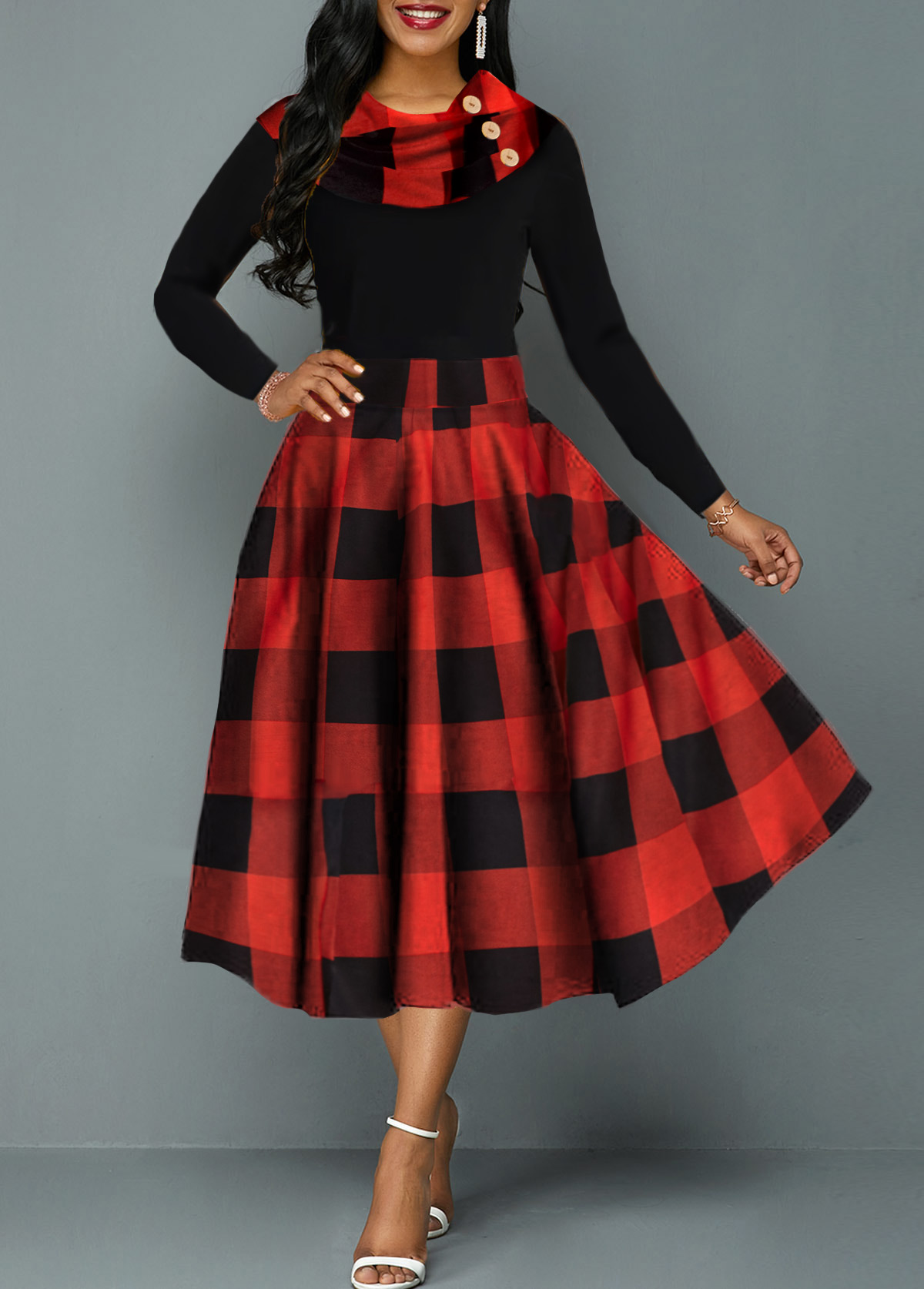 High Waist Plaid Print Long Sleeve Dress