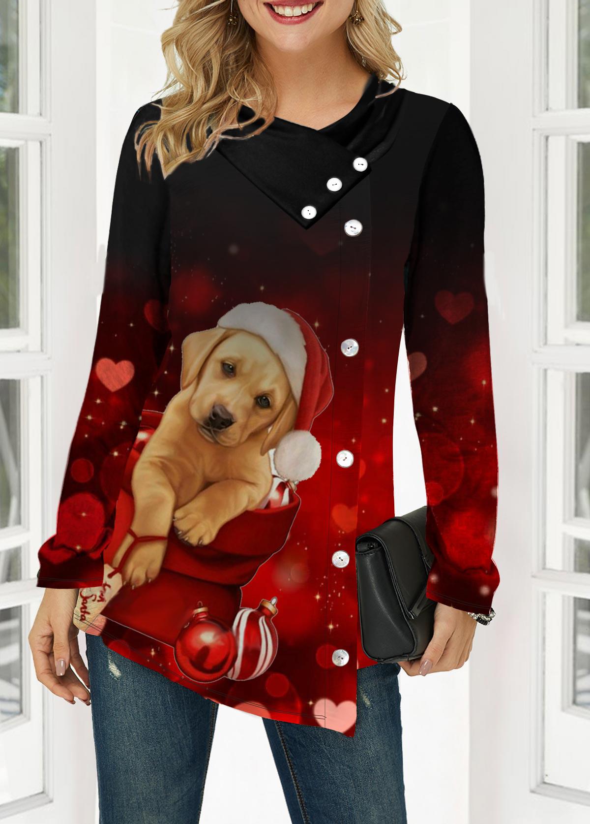 Dog Print Long Sleeve Button Front T Shirt