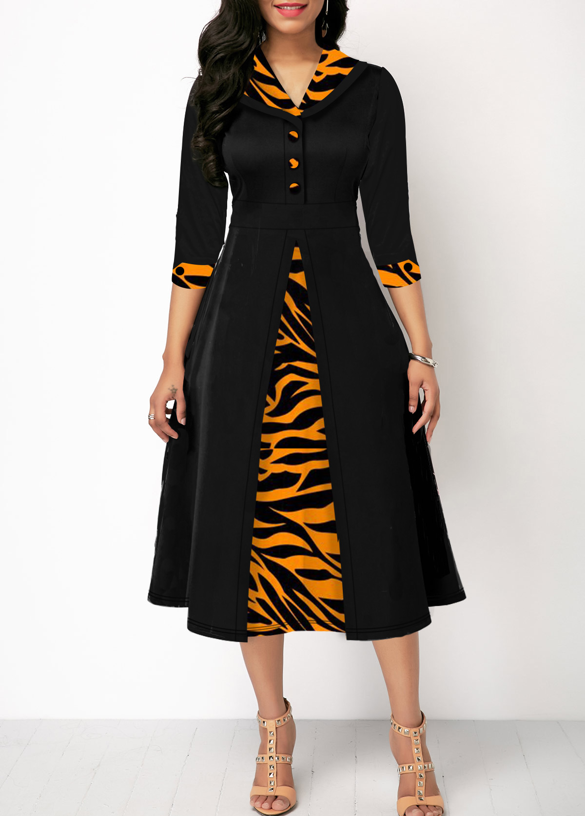 High Waist Zebra Print Three Quarter Sleeve Dress