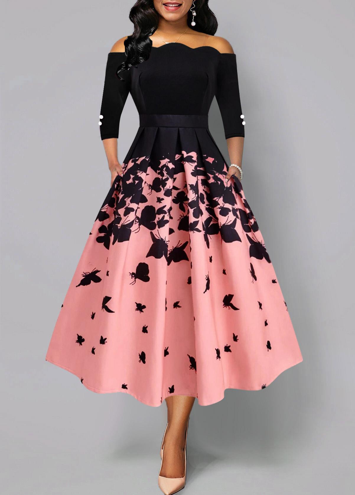 Butterfly Print Button Detail Scalloped Hem Dress