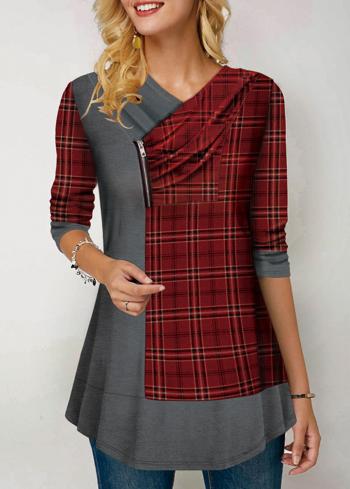 Zipper Deatil Plaid Print Long Sleeve T Shirt