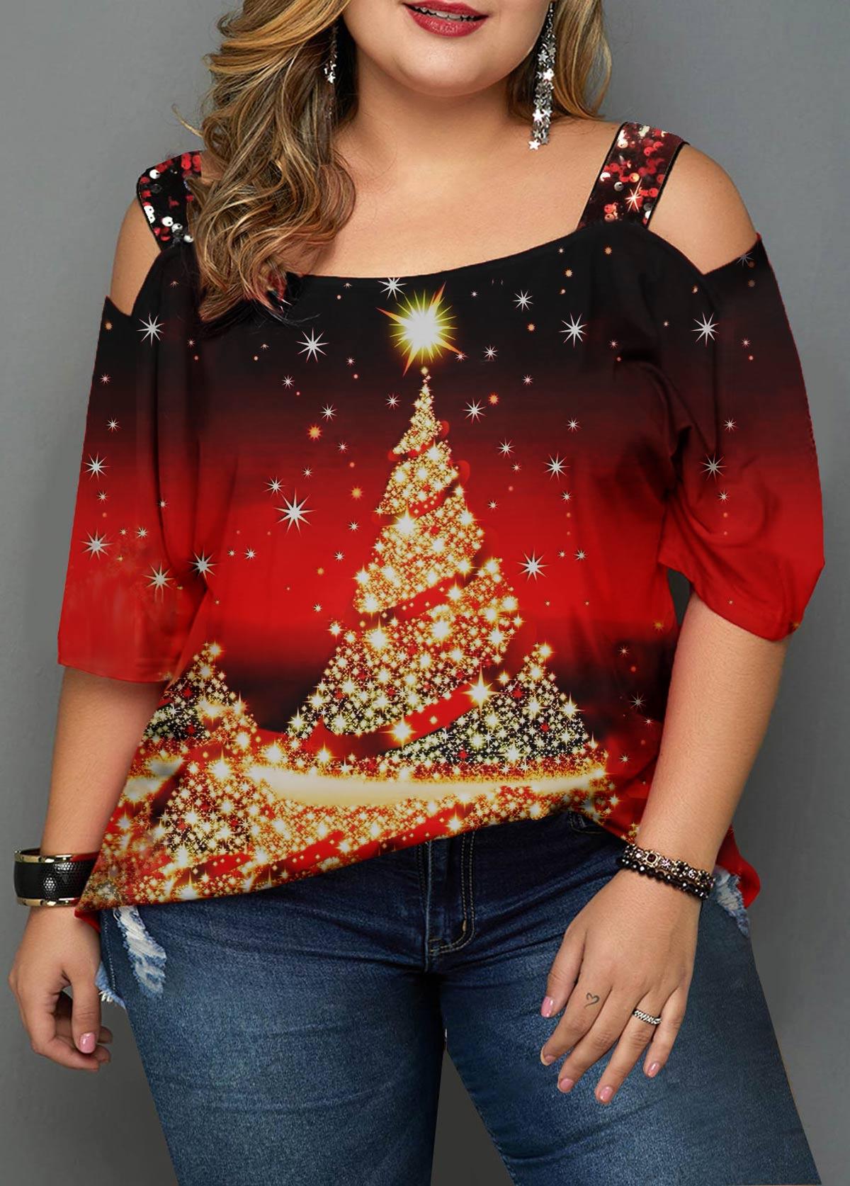 Christmas Tree Print Plus Size T Shirt