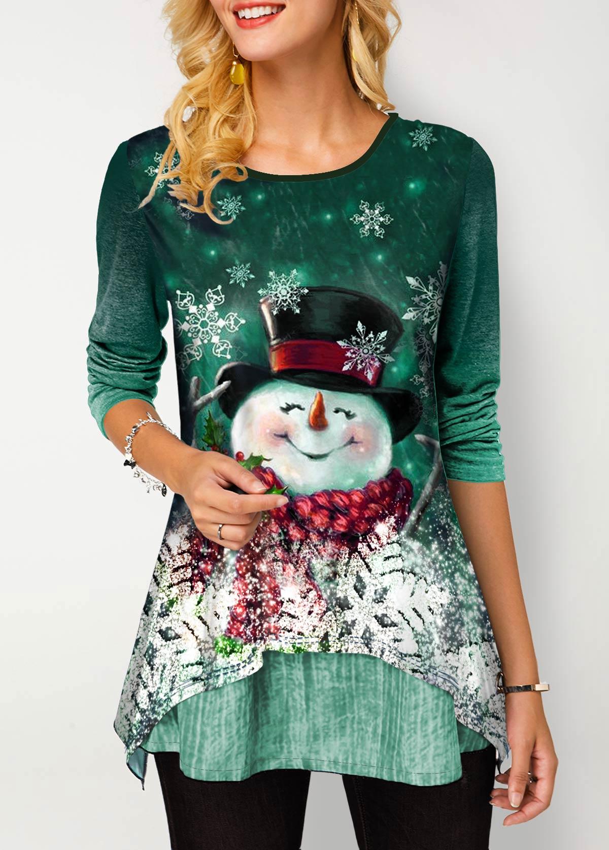 ROTITA Round Neck Gradient Christmas Snowman Print T Shirt