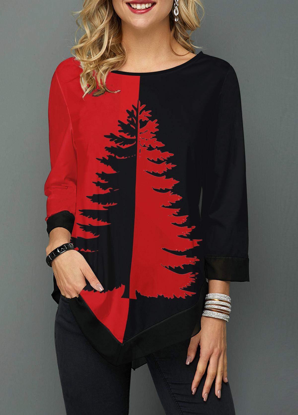 ROTITA Round Neck Asymmetric Hem Tree Print T Shirt