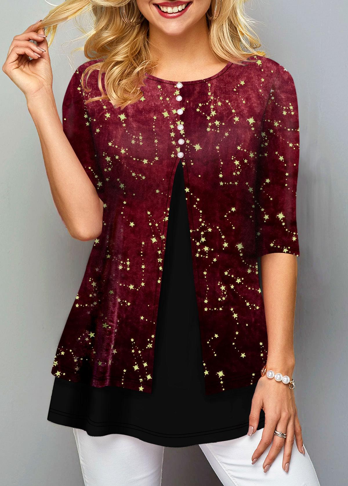 ROTITA Hot Stamping Half Sleeve Round Neck T Shirt
