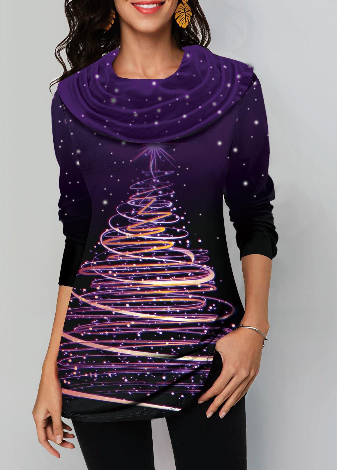 Dazzle Color Long Sleeve Christmas Print T Shirt