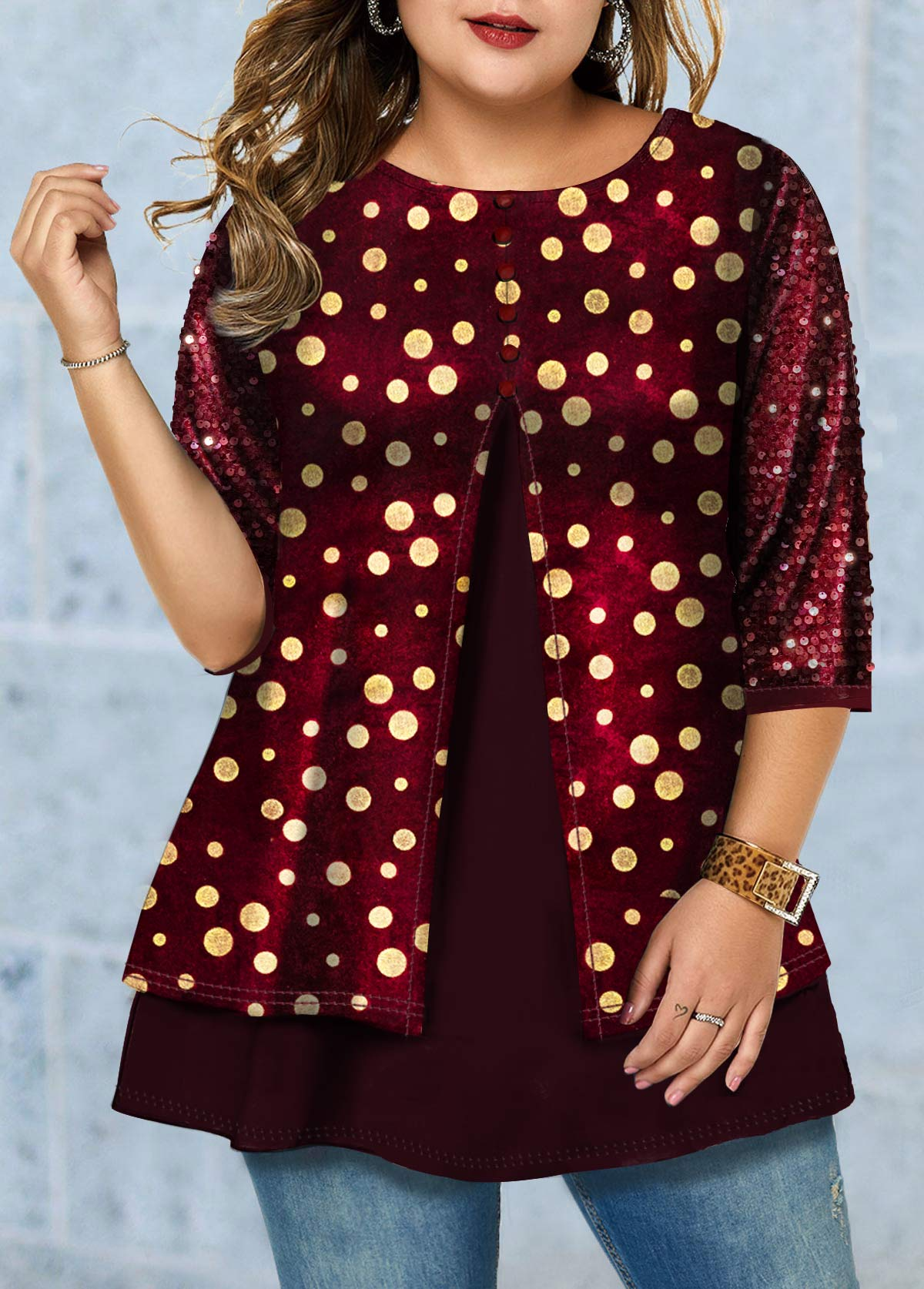 ROTITA Plus Size Sequin Detail Hot Stamping T Shirt