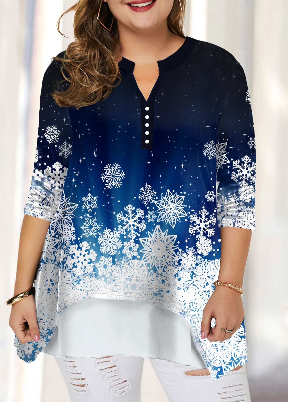 ROTITA Snow Print Plus Size Split Neck Blouse