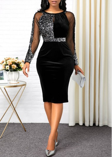 Sequin Embellished Black Back Slit Dress