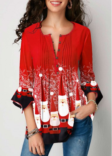 Christmas Print Flare Cuff Crinkle Chest Blouse