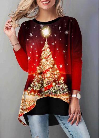 Layered Hem Christmas Tree Print T Shirt