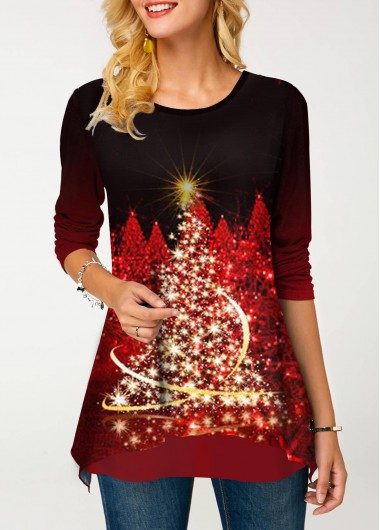 Round Neck Christmas Tree Print T Shirt