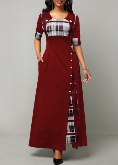 Plaid Print Half Sleeve Button Detail Maxi Dress