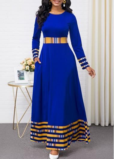 Rainbow Stripe Round Neck Long Sleeve Maxi Dress
