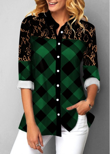 Blouse | Button | Plaid | Print | Lace | Up