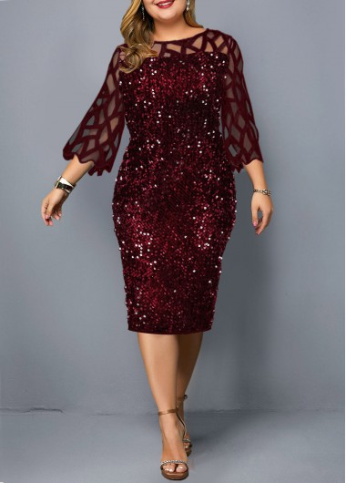 Plus Size Three Quarter Sleeve Sequin Embellished Dress