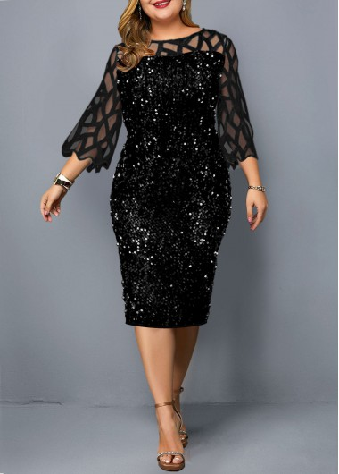 Plus Size Sequin Detail Mesh Panel Dress