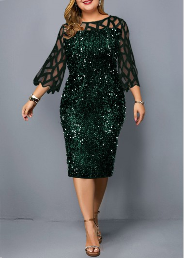 Sequin Detail Plus Size Mesh Panel Dress