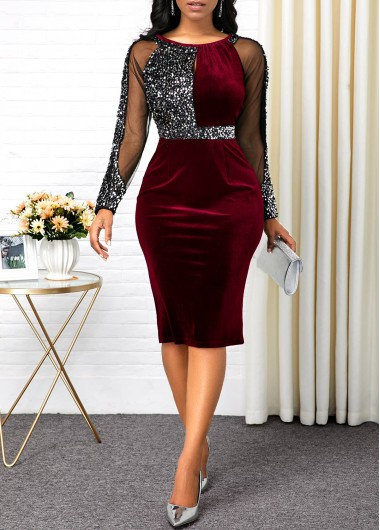 Mesh Panel Back Slit Sequin Detail Sheath Dress