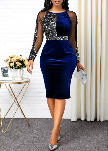 Mesh Panel Long Sleeve Sequin Detail Sheath Dress