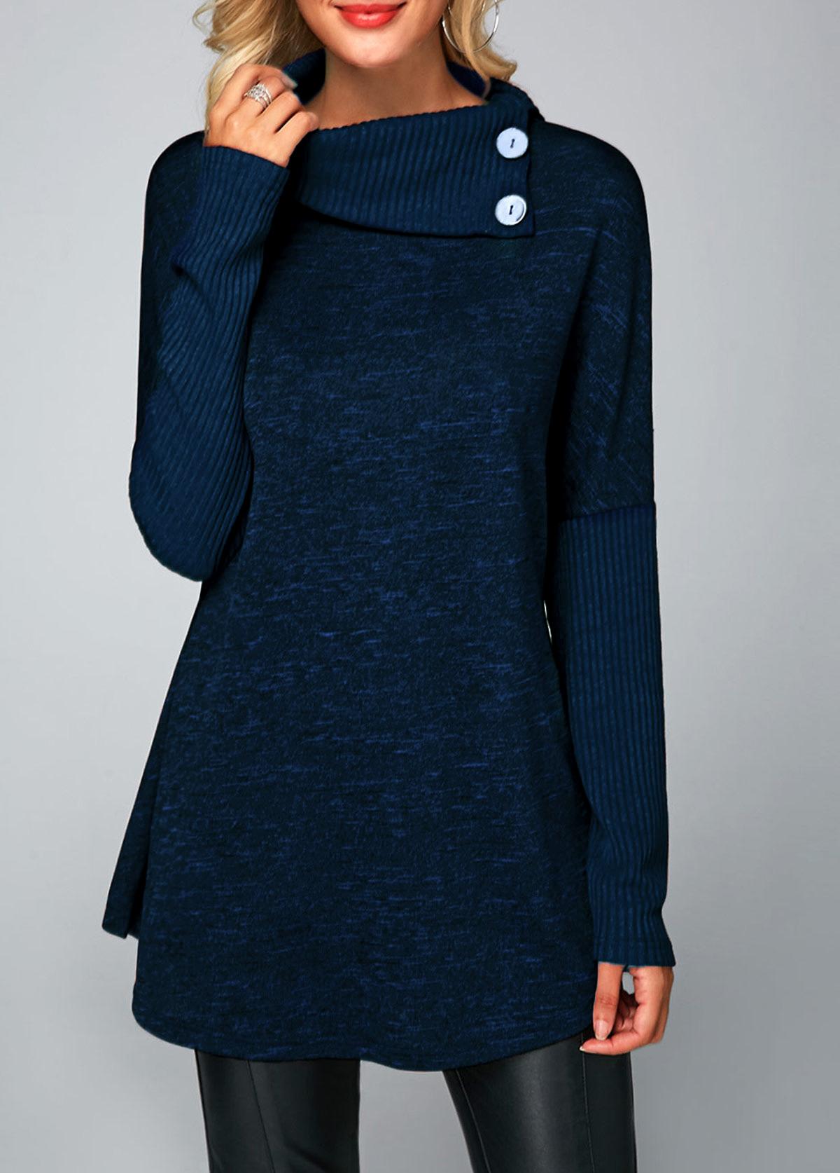 Long Sleeve Button Detail Royal Blue Tunic T Shirt
