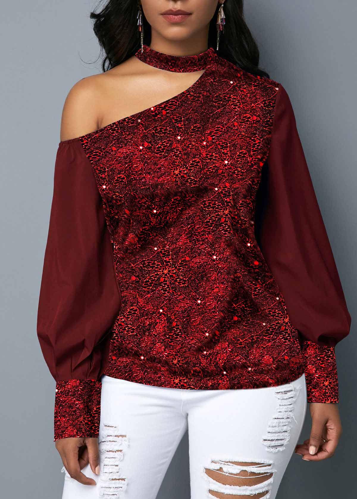 Cutout Shoulder Sequin Embellished Wine Red Blouse