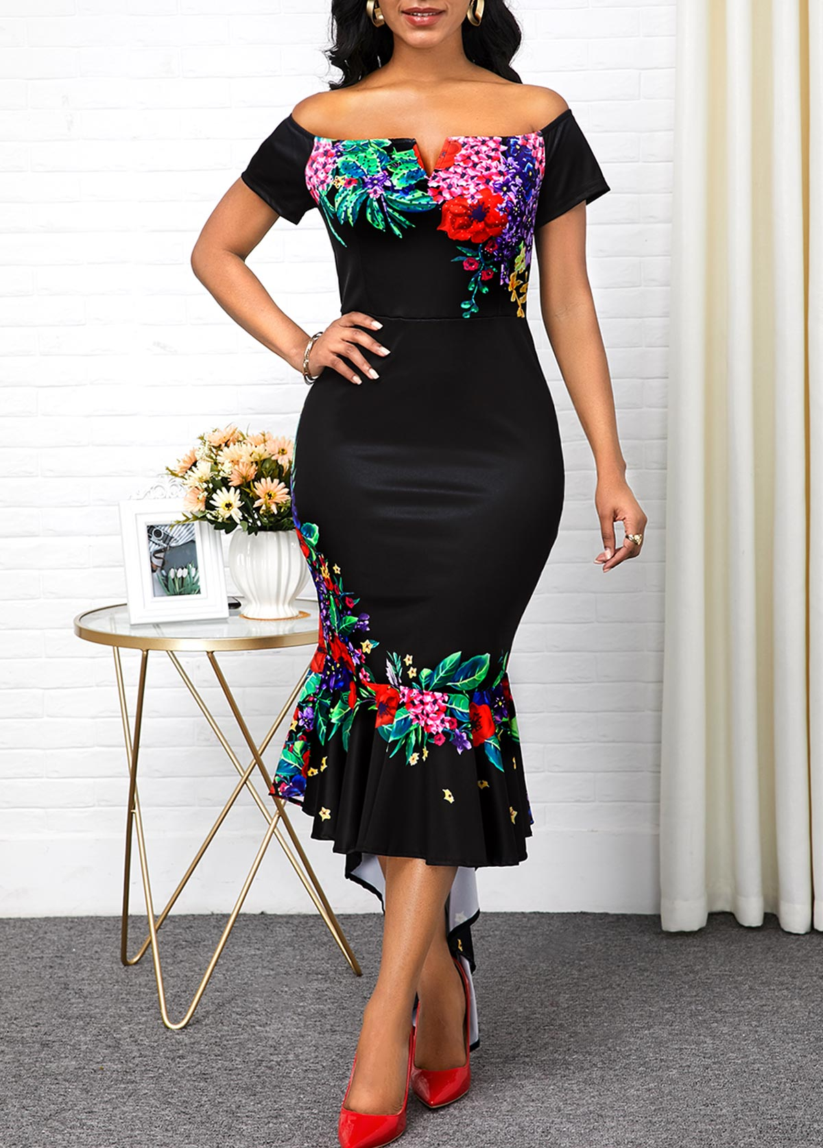 ROTITA Asymmetric Hem Retro Flower Print Off the Shoulder Dress
