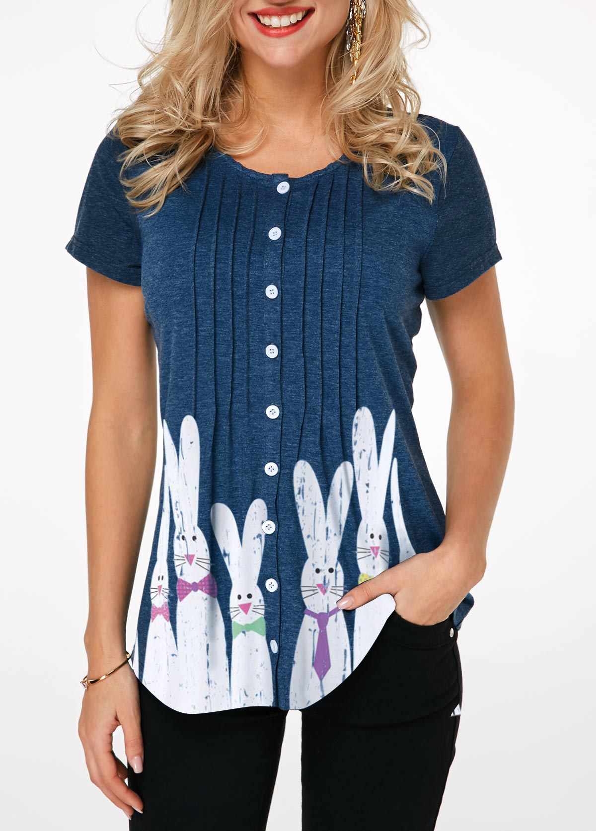 ROTITA Easter Crinkle Chest Button Front Rabbit Print T Shirt