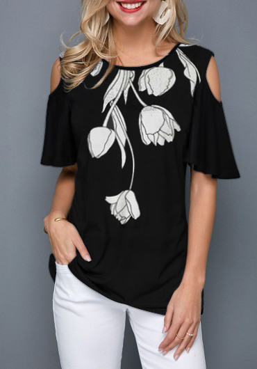 Flower Print Black Cold Shoulder T Shirt