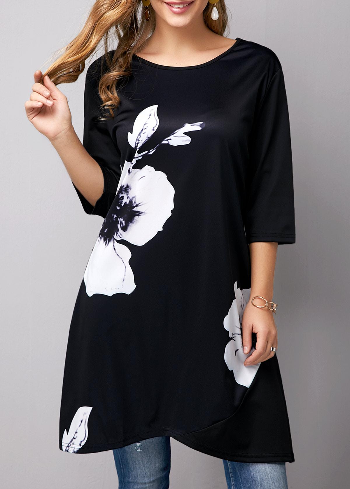 Crossover Hem Flower Print Black T Shirt
