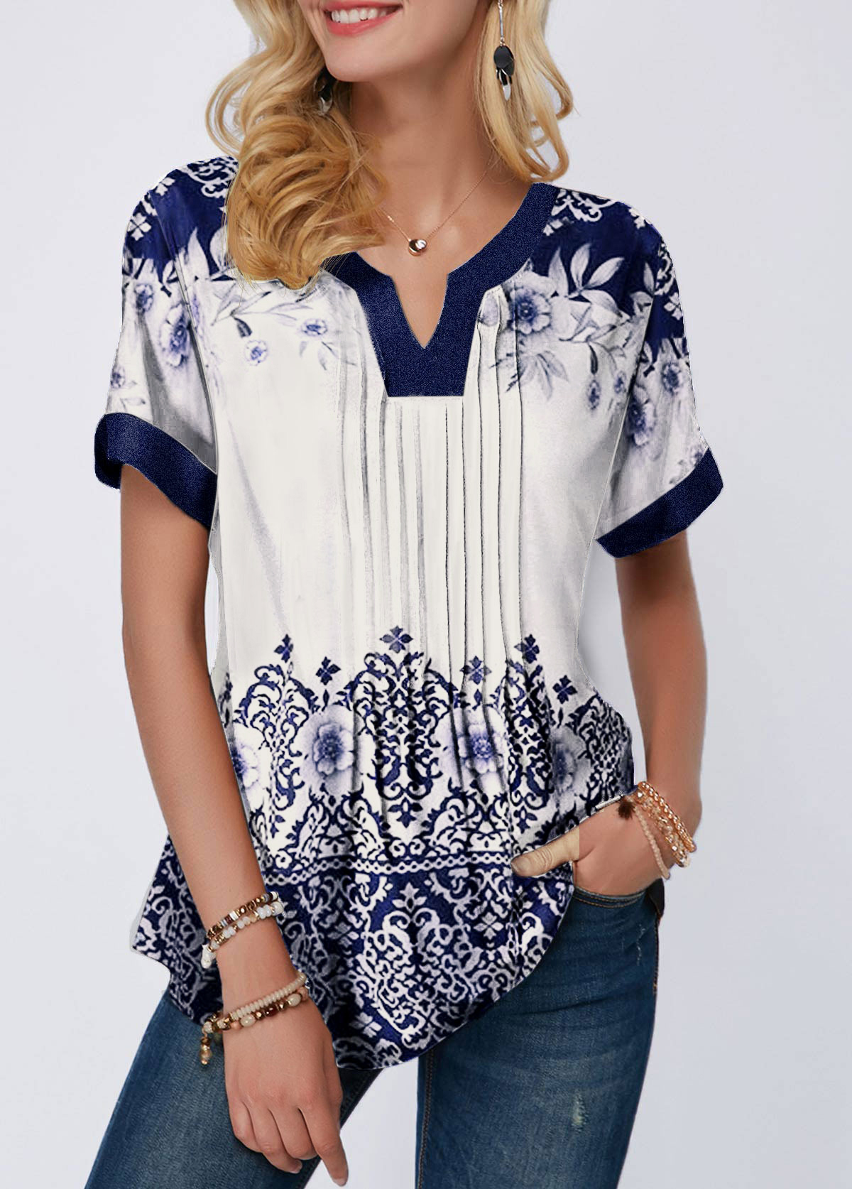 ROTITA Short Sleeve Tribal Print Split Neck Blouse
