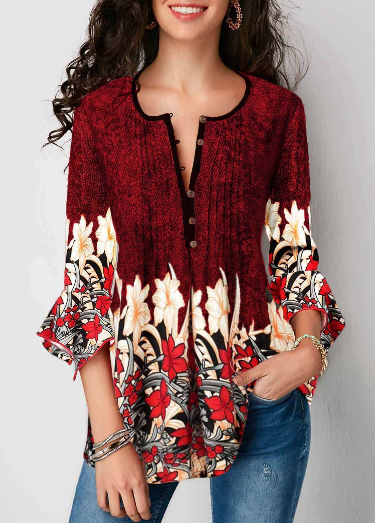 ROTITA Flare Sleeve Split Neck Printed Blouse