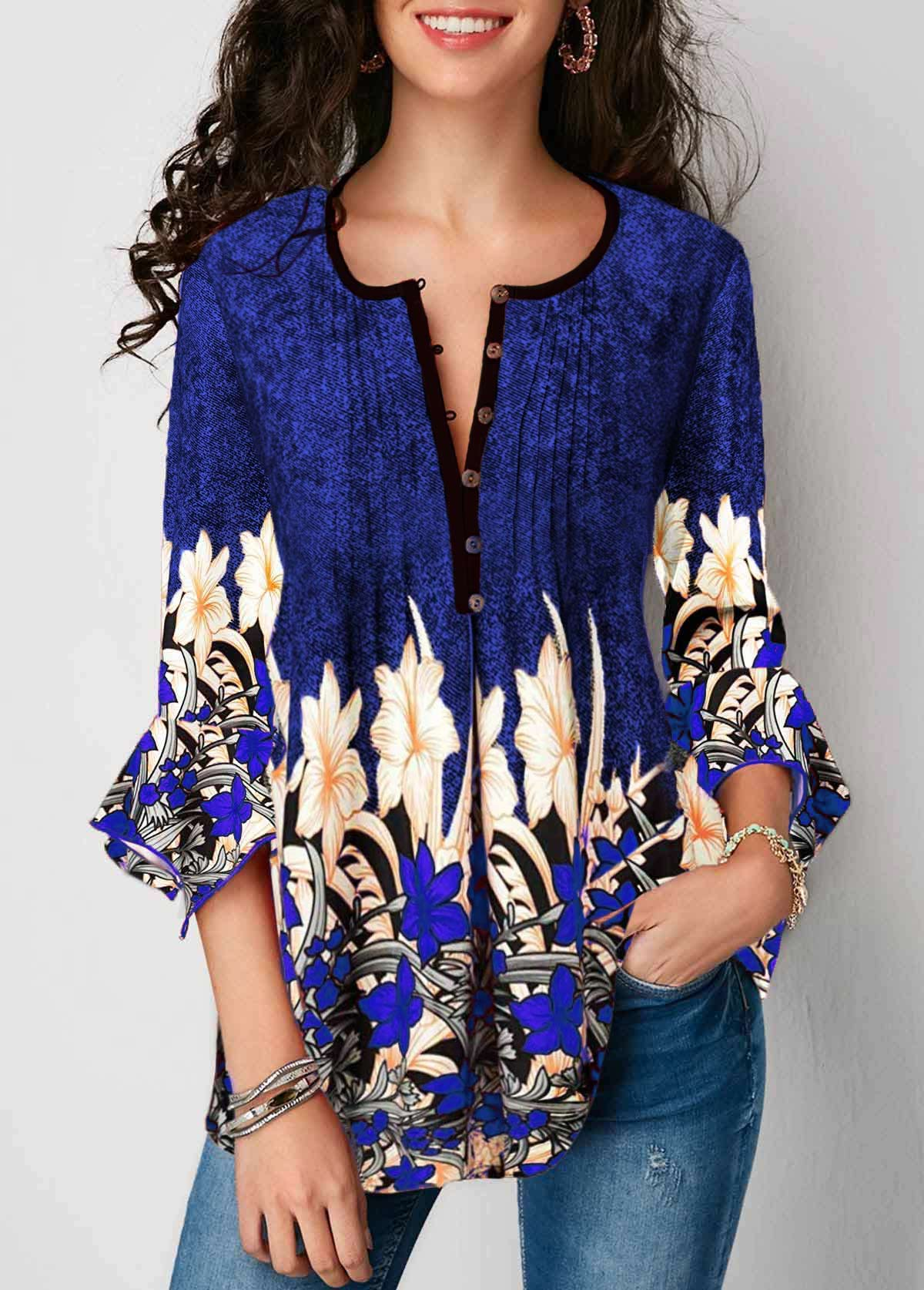Blue Button Up Pleated Flare Sleeve Blouse