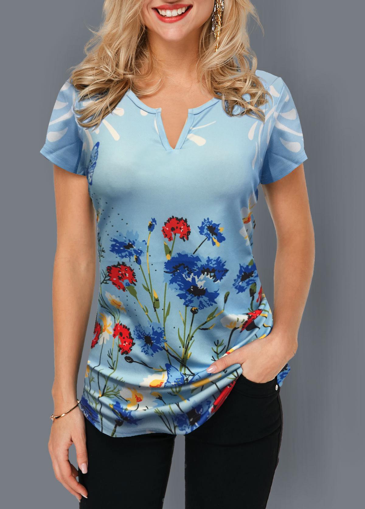 Short Sleeve Notch Neck Floral Print T Shirt