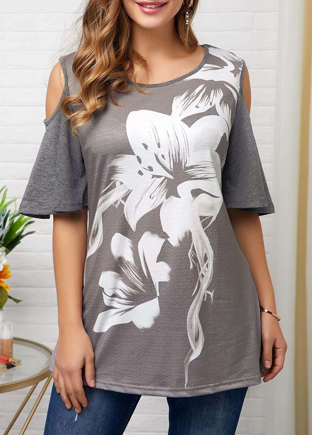 ROTITA Half Sleeve Cold Shoulder Round Neck Flower Print Blouse