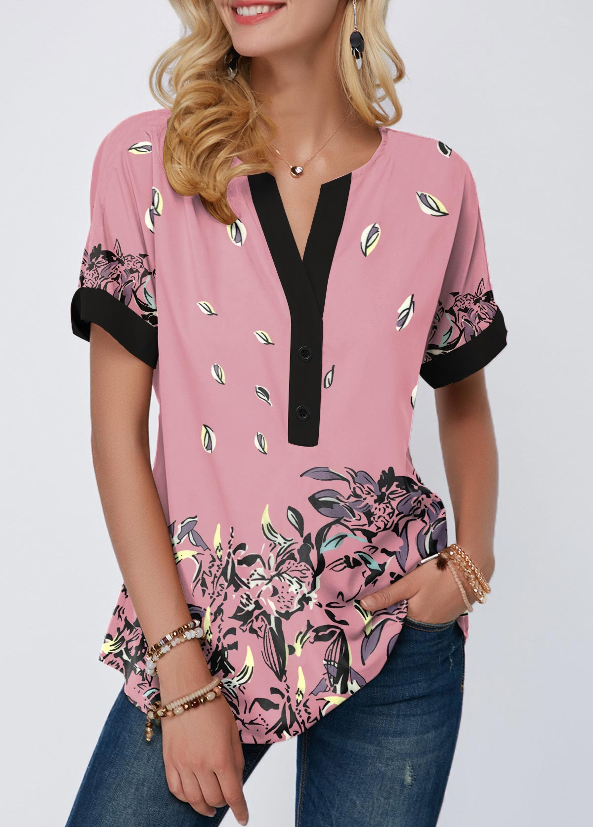ROTITA Floral Print Contrast Piping Notch Neck T Shirt