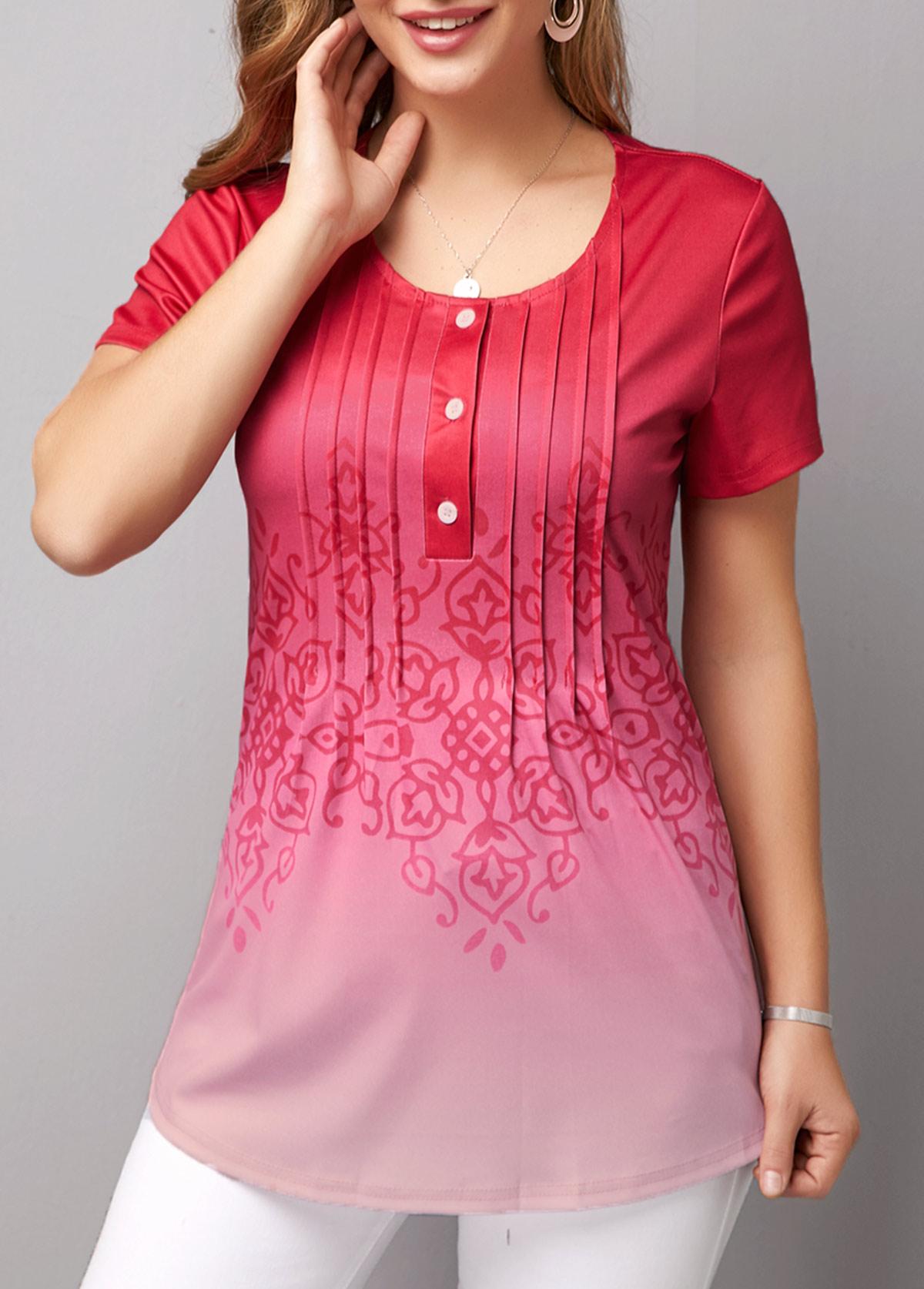 Short Sleeve Crinkle Chest Gradient T Shirt