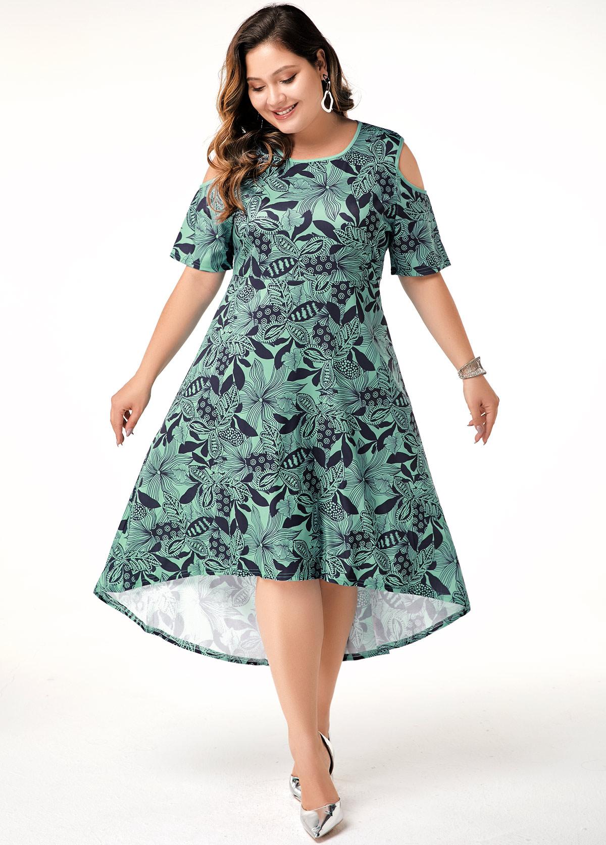 ROTITA Plus Size Printed Cold Shoulder Dress