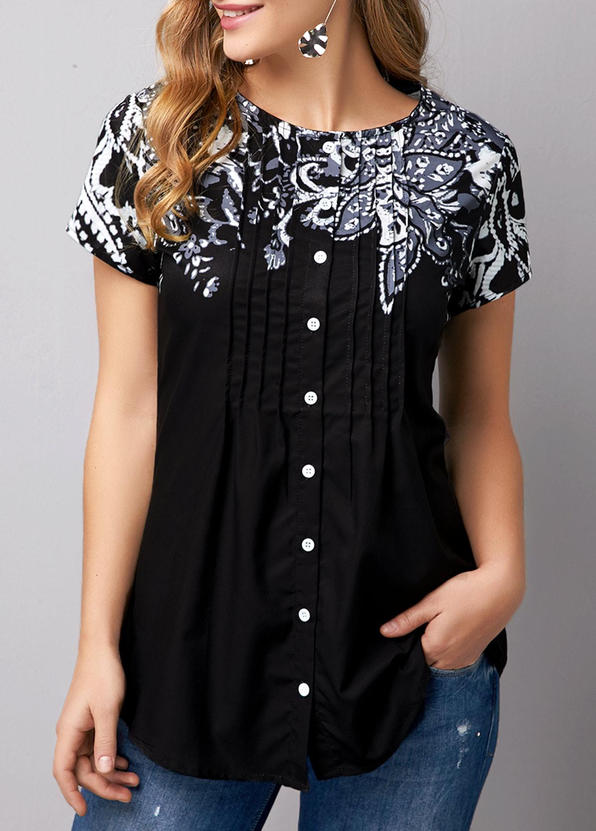 ROTITA Short Sleeve Button Front Flower Print T Shirt