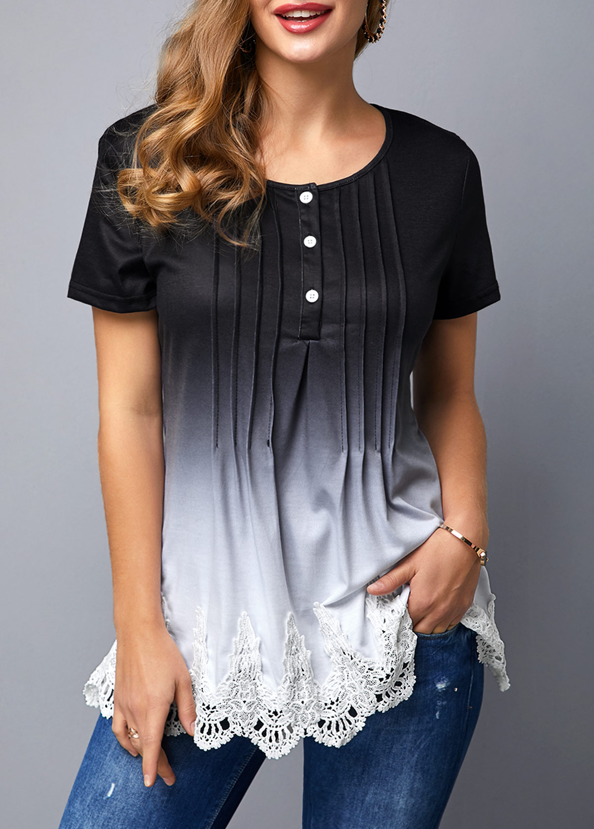 ROTITA Lace Panel Scalloped Hem Crinkle Chest Gradient T Shirt