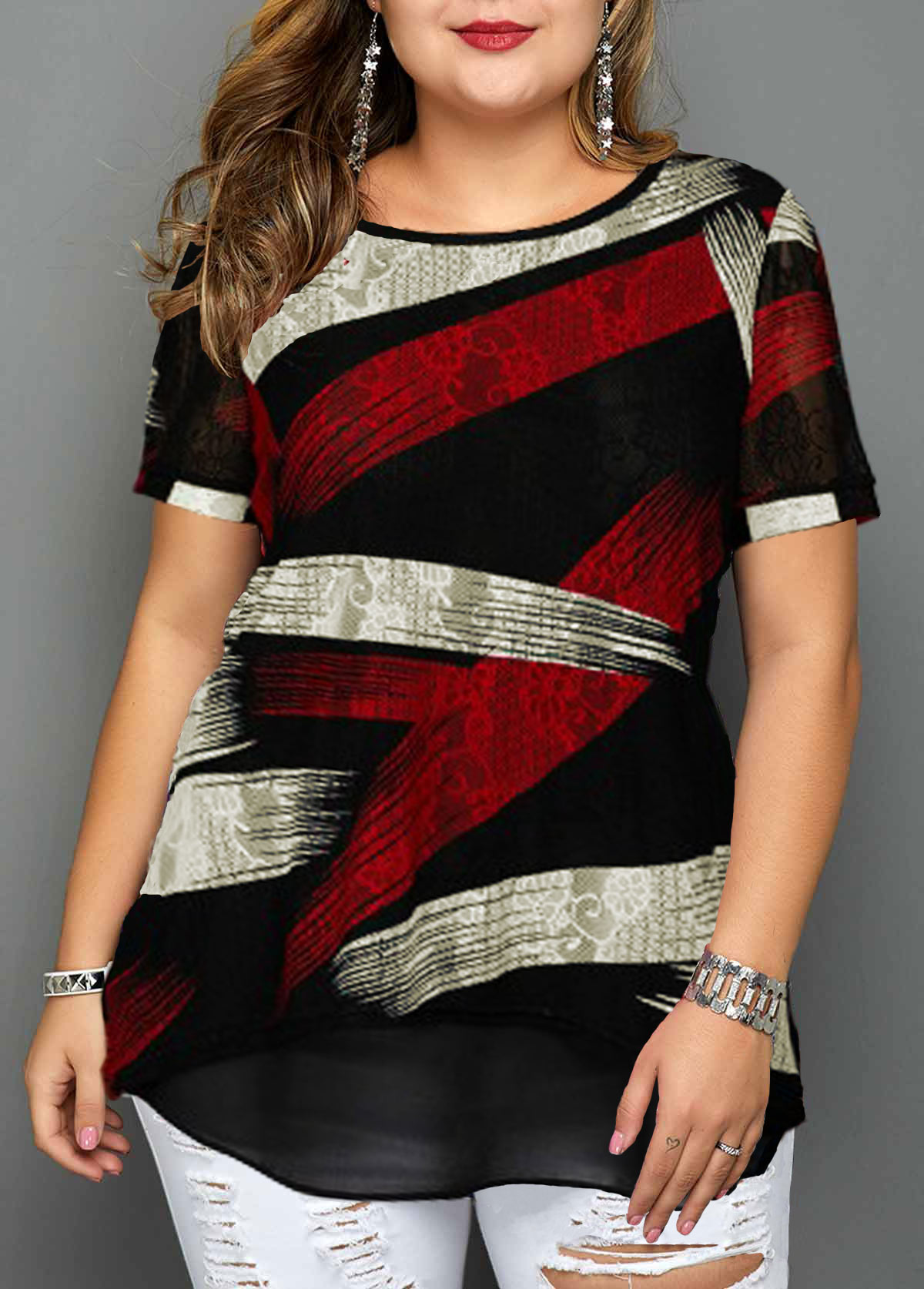 Short Sleeve Geometric Print Plus Size Blouse