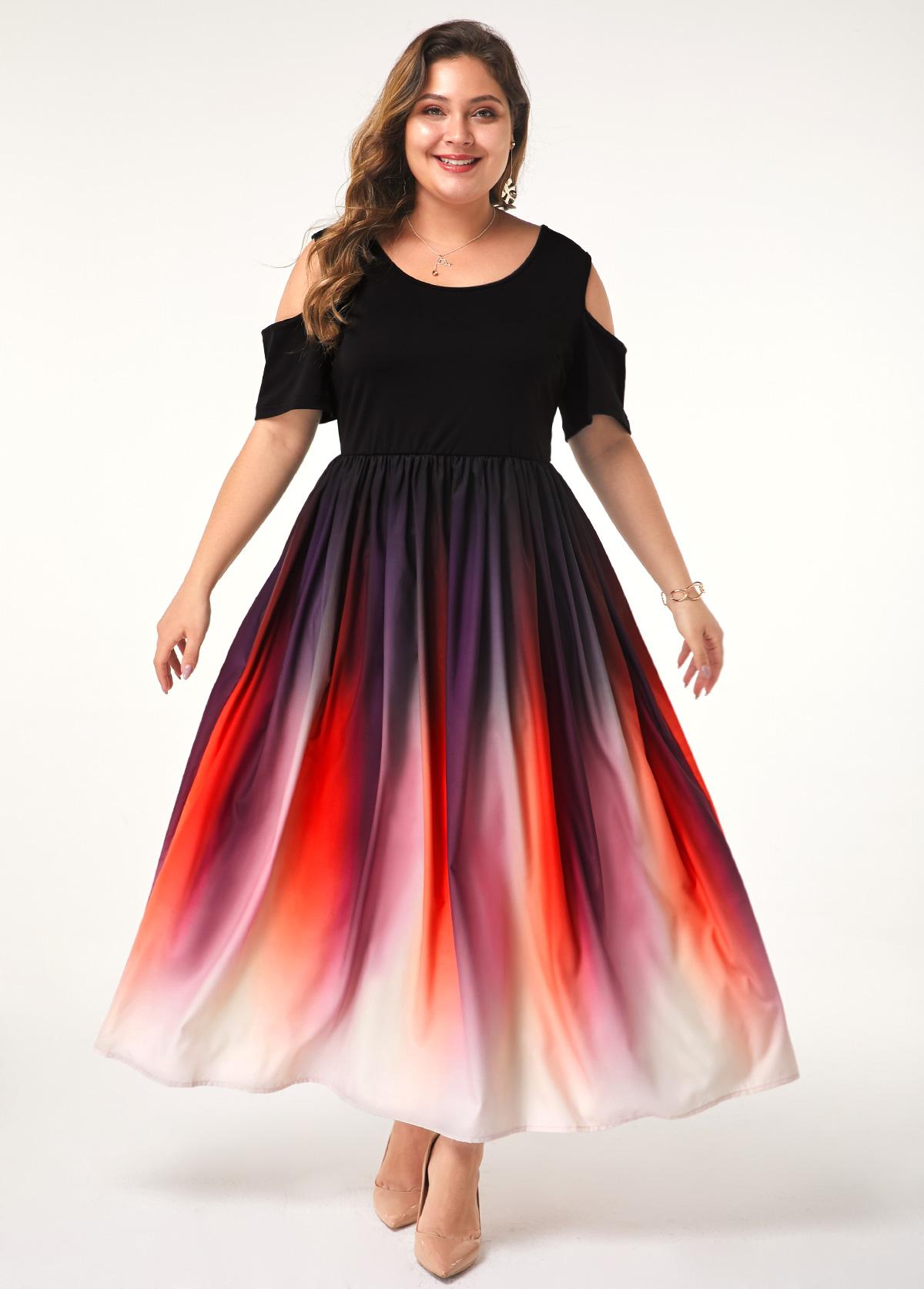 Cold Shoulder Plus Size Gradient Dress