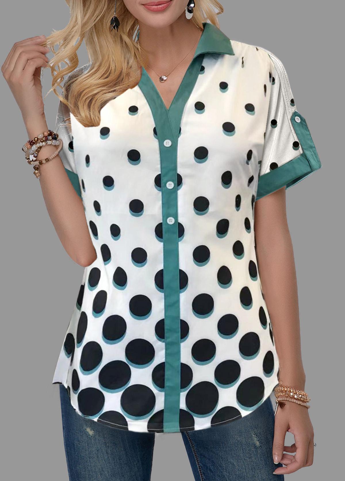 Split Neck Polka Dot Print Roll Tab Sleeve Blouse