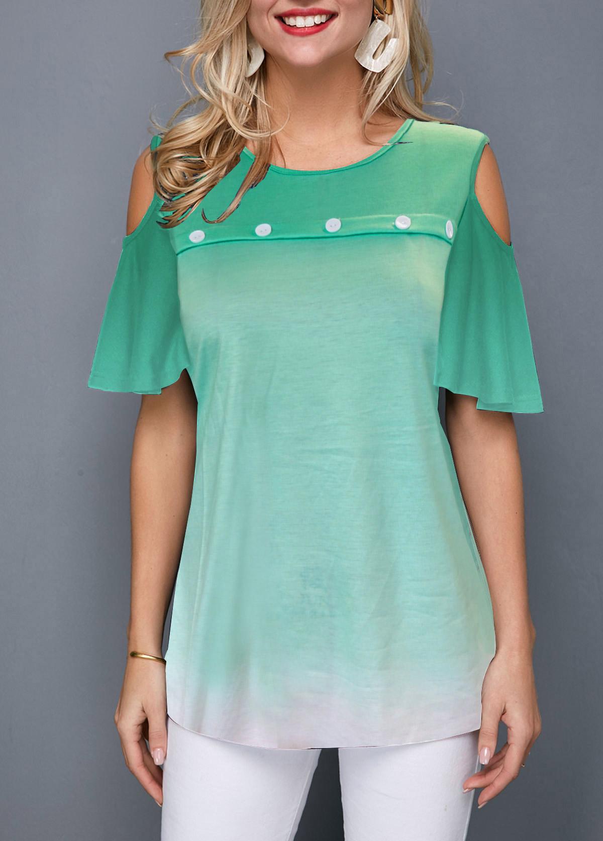 ROTITA Cold Shoulder Button Front Gradient T Shirt