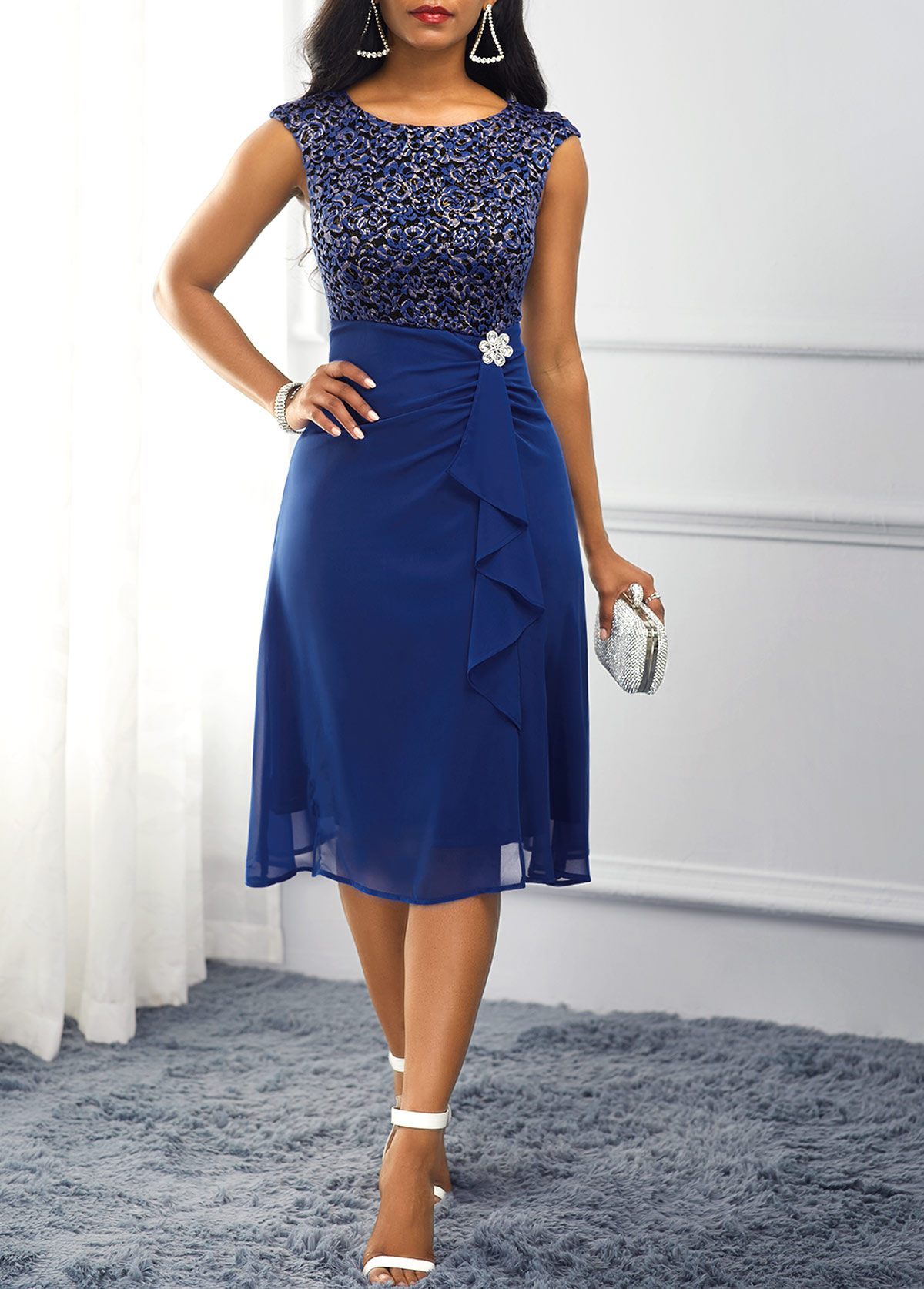 ROTITA Navy Blue High Waist Rhinestone Embellished Dress