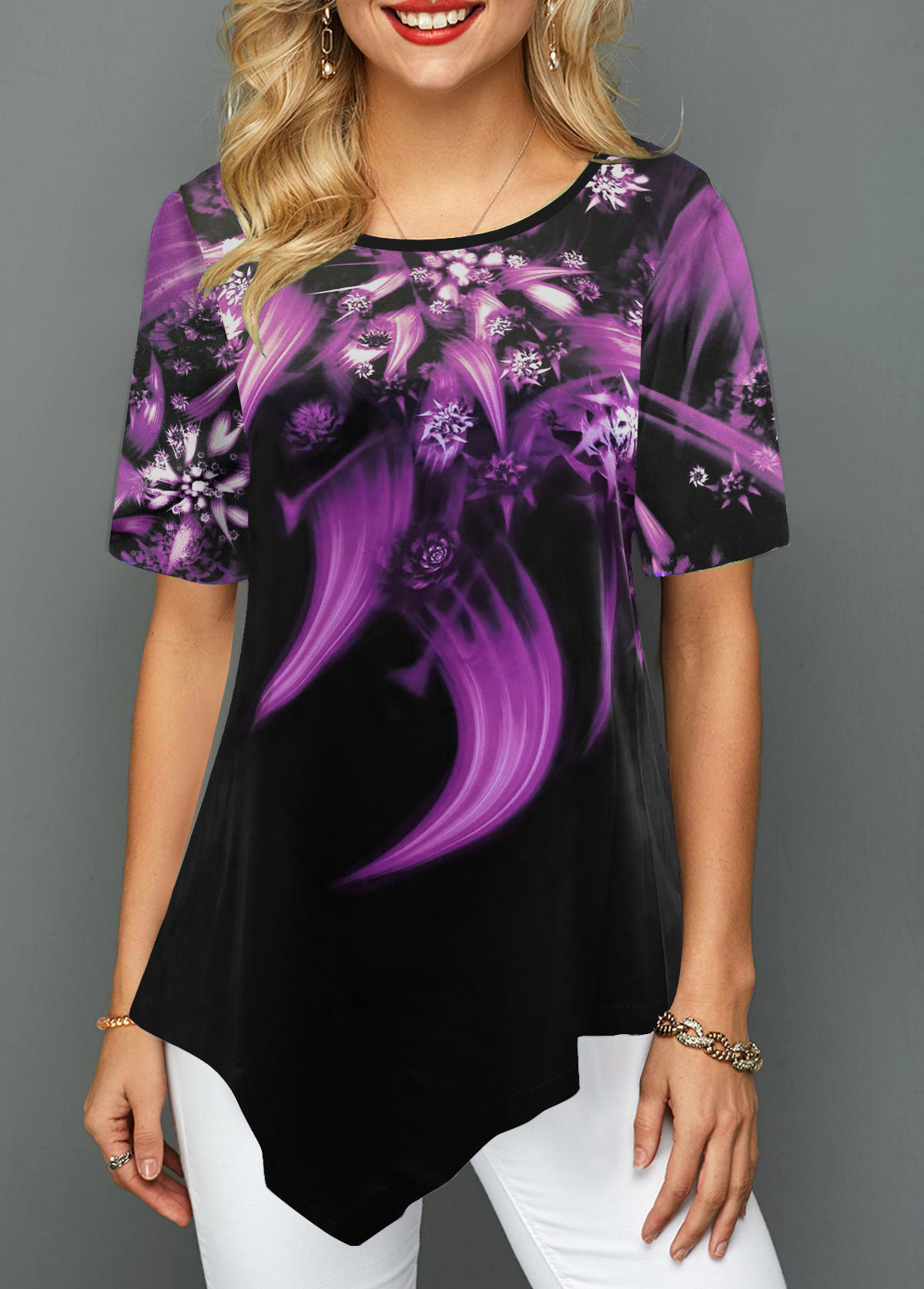 Asymmetric Hem Flower Print Short Sleeve T Shirt