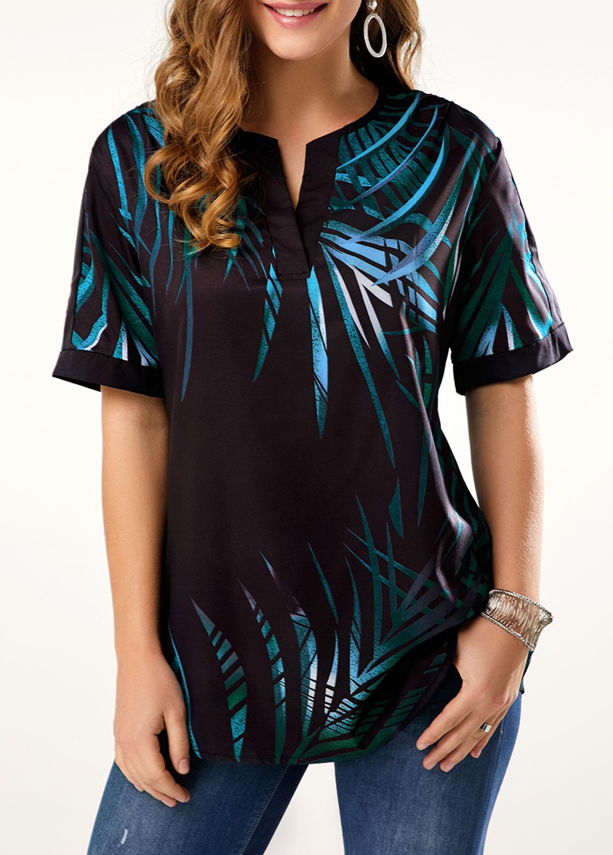 ROTITA Split Neck Short Sleeve Tropical Print T Shirt